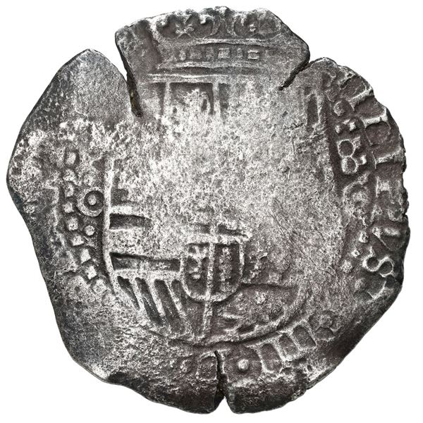 Potosi, Bolivia, cob 8 reales, (1650) O, with uncommon crown-alone (Mastalir K5) countermark on cros