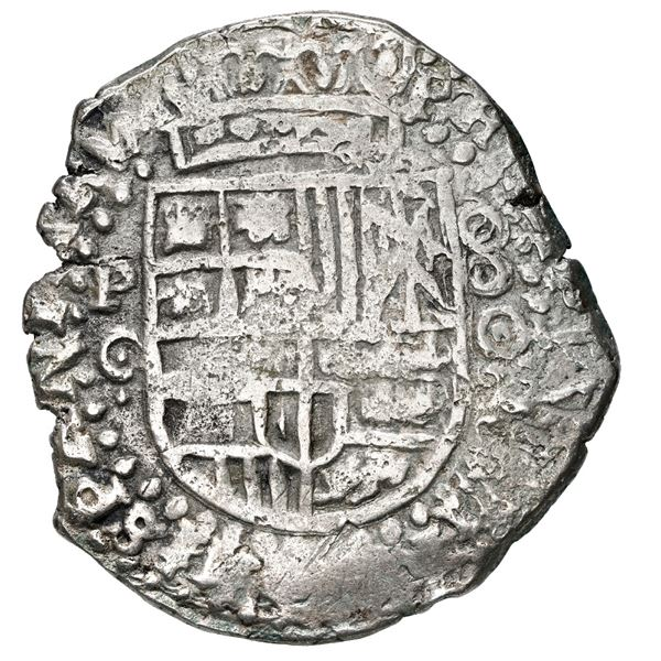 Potosi, Bolivia, cob 8 reales, 1650 O, with crowned-arms (Mastalir Asa) countermark on cross, rare,