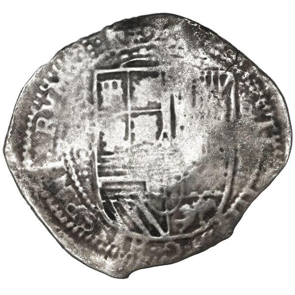 Potosi, Bolivia, cob 8 reales, 1650 O, with crude-arms (Mastalir CL) countermark on cross, very rare