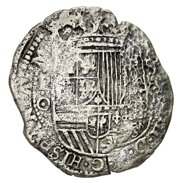 Potosi, Bolivia, cob 8 reales, 1650 O, with two countermarks (both unidentified) on cross, rare, Mas