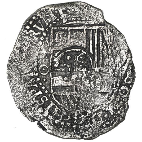 Potosi, Bolivia, cob 8 reales, 1651 O, with crowned-F (Mastalir Fa2) countermark on shield, very rar