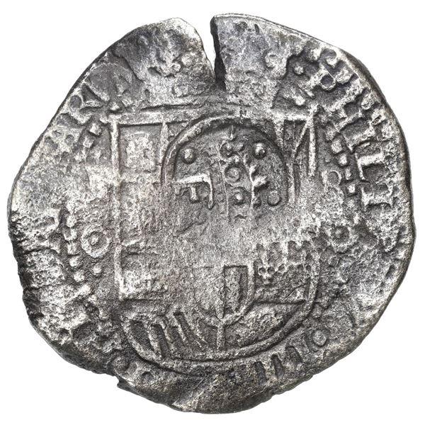 Potosi, Bolivia, cob 8 reales, 1651 O, with 8/P to right, crowned-F (Mastalir Fb2) countermark on sh