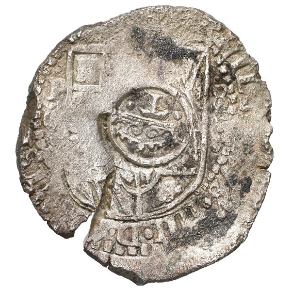 Potosi, Bolivia, cob 8 reales, 1651 O, with crowned-T (Mastalir Ta) countermark on shield, rare, Mas