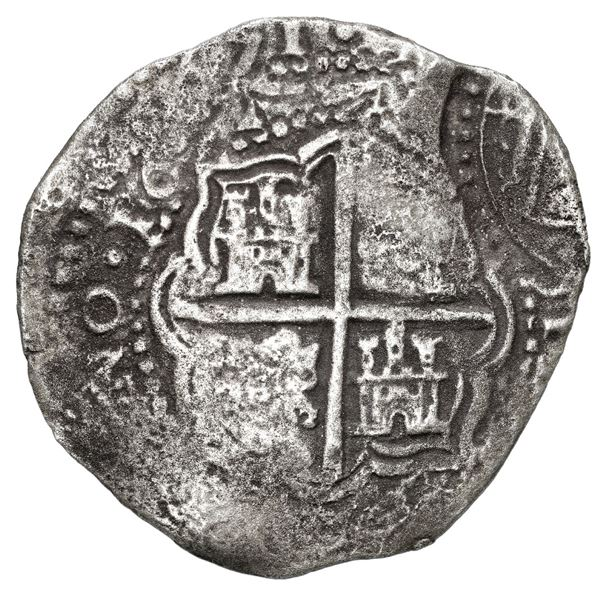Potosi, Bolivia, cob 8 reales, 1651 O, with crowned-arms (Mastalir Asb) countermark on cross, very r