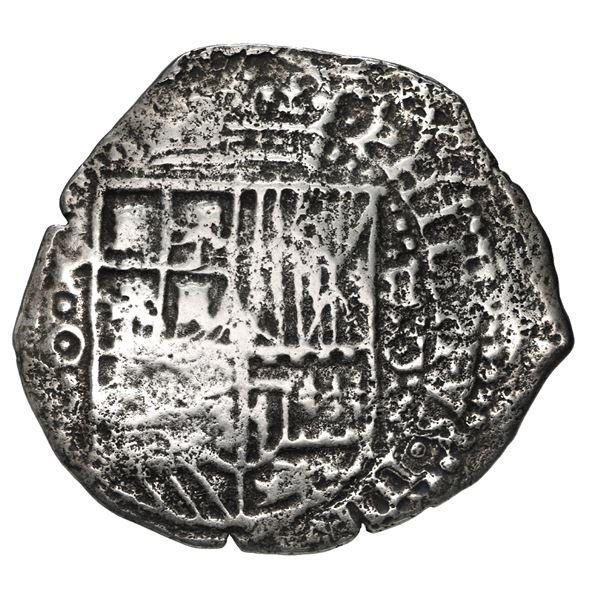 Potosi, Bolivia, cob 8 reales, 1651 O, with pentagonal crowned-1605 (Mastalir P05) countermark on cr