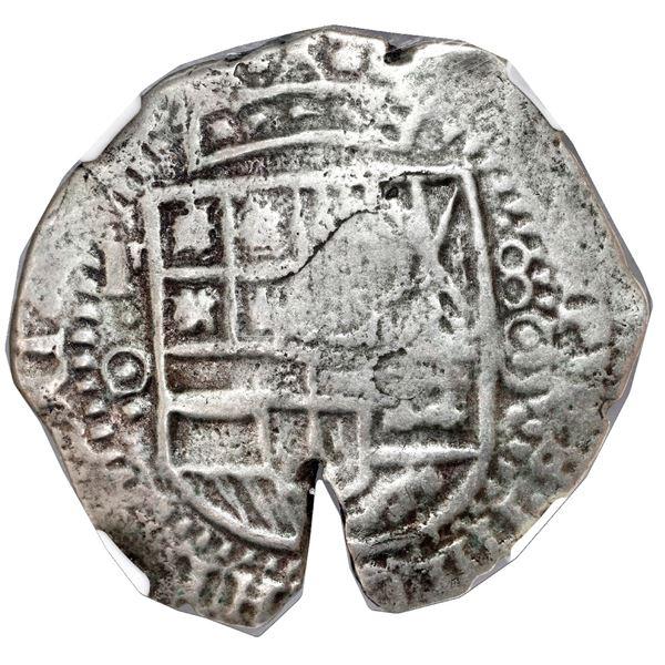 Potosi, Bolivia, cob 8 reales, (1650-1) O, with crowned-L countermark on cross, NGC genuine / La Cap
