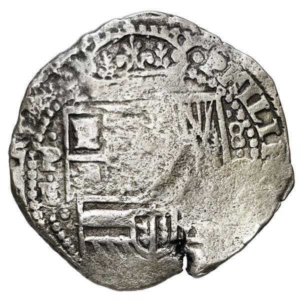Potosi, Bolivia, cob 8 reales, (1651) E/O, with uncommon crown-alone (Mastalir K5) countermark on cr