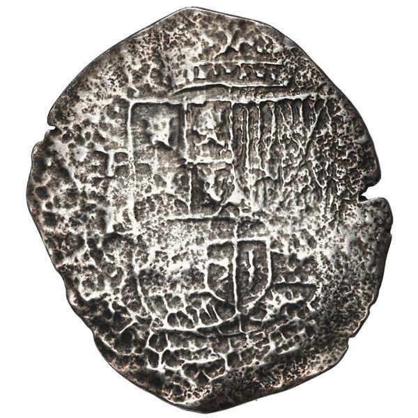 Potosi, Bolivia, cob 8 reales, 1651 E, with crowned-F (Mastalir Fa2-x) countermark on cross, rare, M