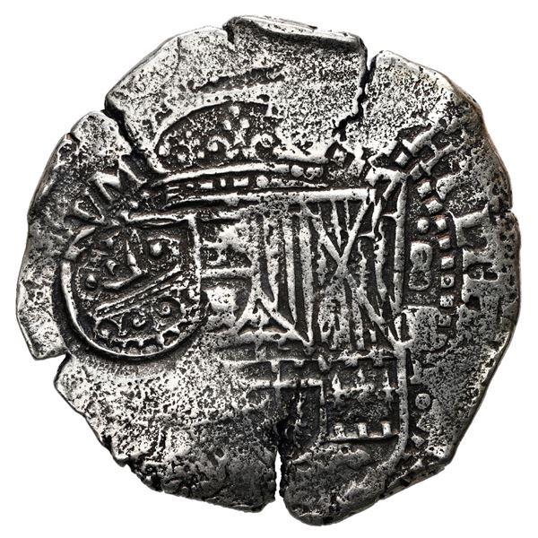 Potosi, Bolivia, cob 8 reales, 1651 E, crowned-F (Mastalir Fa2) countermark on shield.