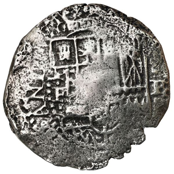 Potosi, Bolivia, cob 8 reales, 1651 E, with crowned-o (Mastalir O3u) countermark on cross, rare, Mas
