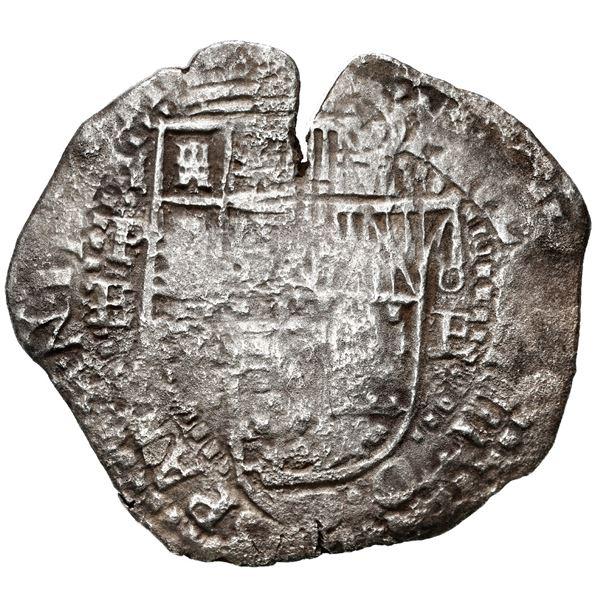 Potosi, Bolivia, cob 8 reales, 1651 E, with crowned-P (Mastalir P1ca) countermark on cross, rare, Ma