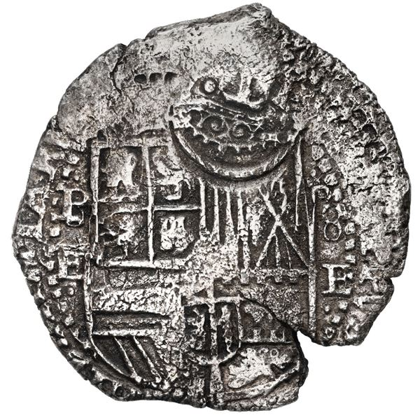 Potosi, Bolivia, cob 8 reales, 1651 E, with P/8 to left and 8/P to right, crowned-T (Mastalir Ta) co