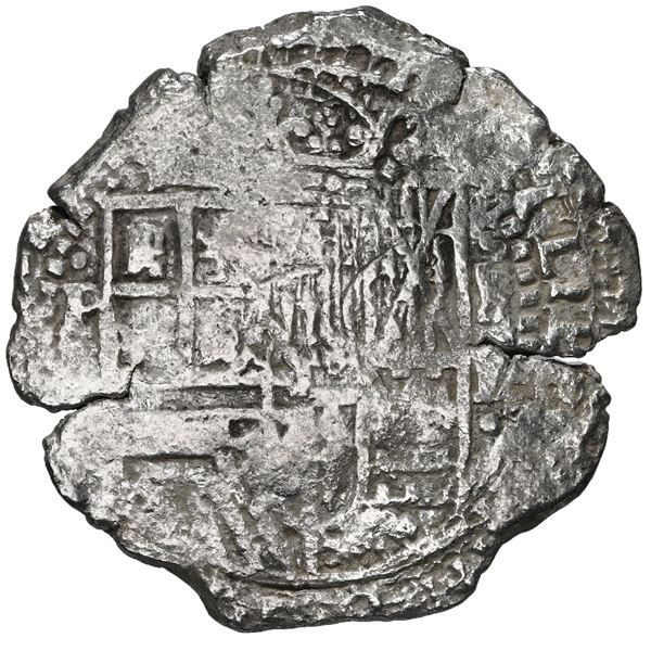 Potosi, Bolivia, cob 8 reales, 1651 E, with uncommon crown-alone (Mastalir K6d) countermark on cross