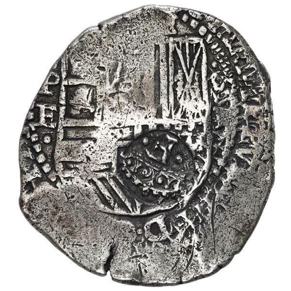 Potosi, Bolivia, cob 8 reales, 1652 E, with crowned-F (Mastalir Fa1) countermark on shield, very rar