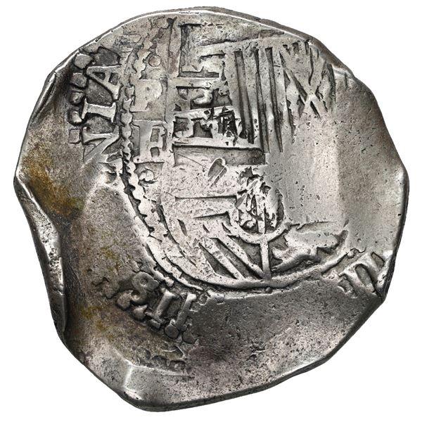 Potosi, Bolivia, cob 8 reales, (1651-2) E, with uncommon crown-alone (Mastalir K7) countermark on cr