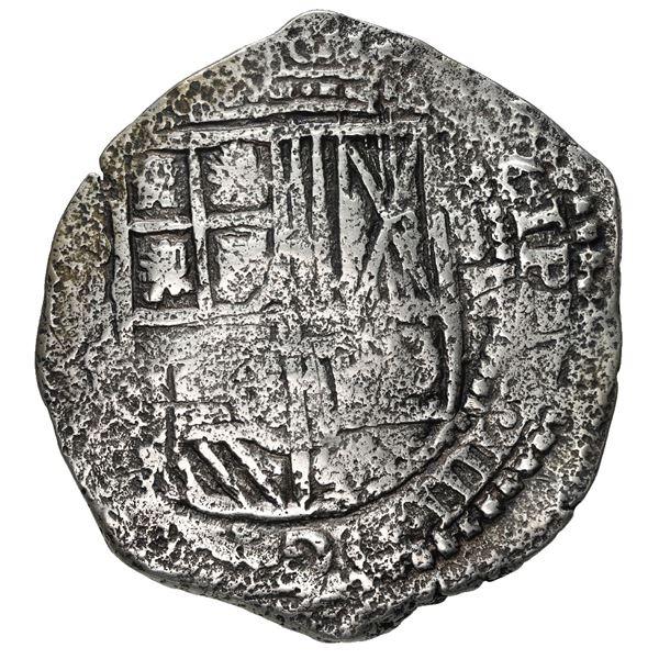 Potosi, Bolivia, cob 8 reales, (1651-2) E, with uncommon crown-alone (Mastalir K2) countermark on cr