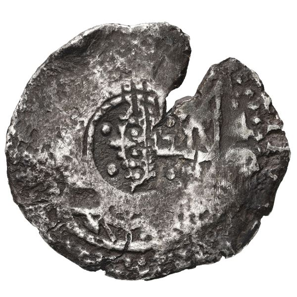 Potosi, Bolivia, cob 4 reales, 1650 O, with crowned-F (Mastalir Fb2) countermark on shield and crown