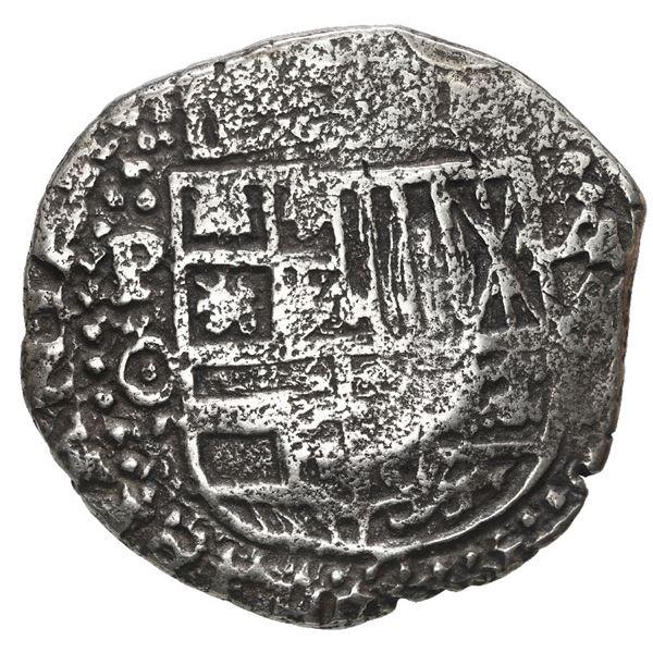 Potosi, Bolivia, cob 4 reales, 1651 O, with uncommon crown-alone (Mastalir K5) countermark on cross,