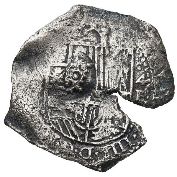 Potosi, Bolivia, cob 4 reales, 1651 E, with crowned F or T countermark on shield, rare, Mastalir Pla