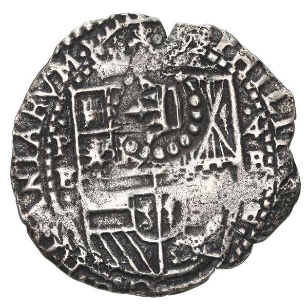 Potosi, Bolivia, cob 4 reales, 1652 E, with uncommon crown-alone (Mastalir K4r) countermark on shiel