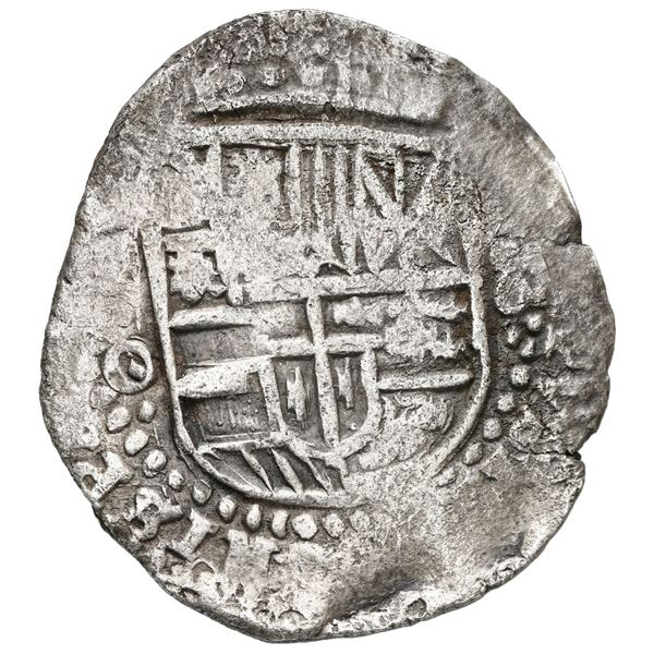 Potosi, Bolivia, cob 8 reales, (1649) O, with crowned-T countermark on cross, ex-MAREX.