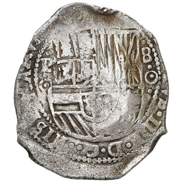 Potosi, Bolivia, cob 8 reales, (1650) O, with uncommon crown-alone (Mastalir K1b) countermark on cro