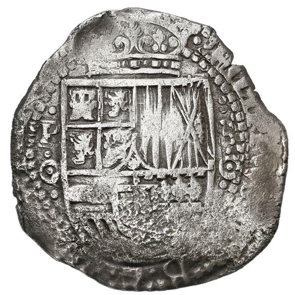 Potosi, Bolivia, cob 8 reales, 1651/0 O, with uncommon crown-alone (Mastalir K1d) countermark on cro