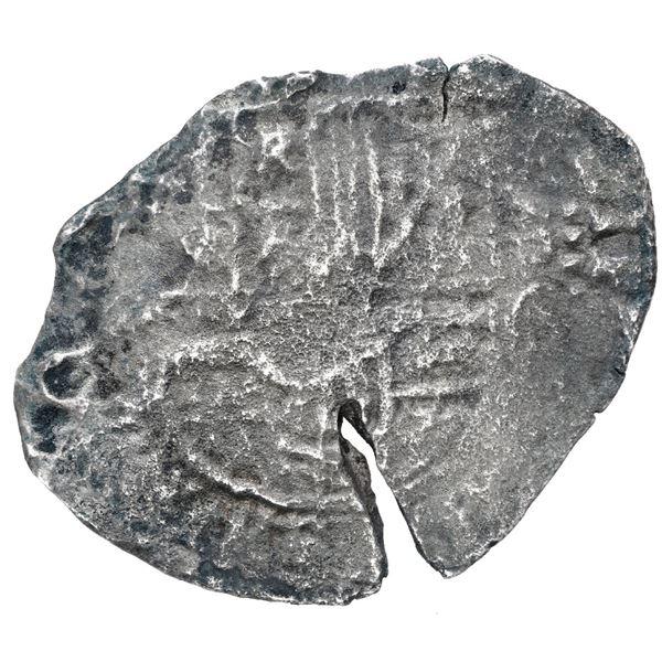 Potosi, Bolivia, cob 8 reales, (1650-1) O, with crowned-backwards L (Mastalir L2aa) countermark on c