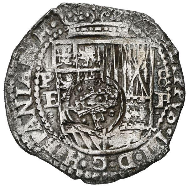 Potosi, Bolivia, cob 8 reales, 1651 E, with crowned-F (Mastalir Fb2) countermark on shield, ex-MAREX