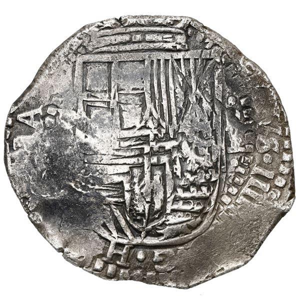 Potosi, Bolivia, cob 8 reales, 1651E, with crowned-L (Mastalir Lbb) countermark on cross, ex-MAREX.