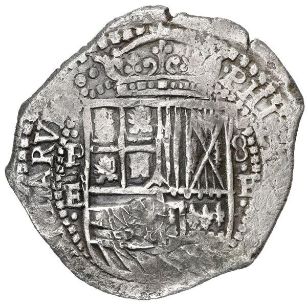Potosi, Bolivia, cob 8 reales, 1652 E, with crowned-F (Mastalir Fa2-x) countermark on cross, very ra
