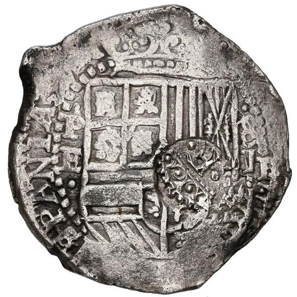 Potosi, Bolivia, cob 8 reales, (1651-2) E, with crowned-F (Mastalir Fa2) countermark on shield.
