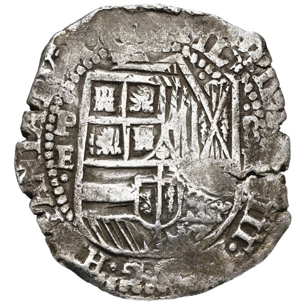 Potosi, Bolivia, cob 8 reales, (1651-2) E, with crowned-T (Mastalir T1[ca]a) countermark on cross, r