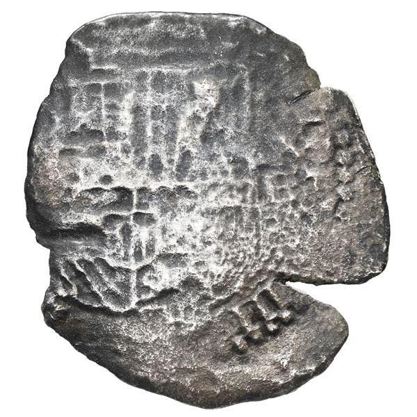 Potosi, Bolivia, cob 8 reales, (1651-2) E, with pentagonal crowned-1652 (Mastalir P52) countermark o