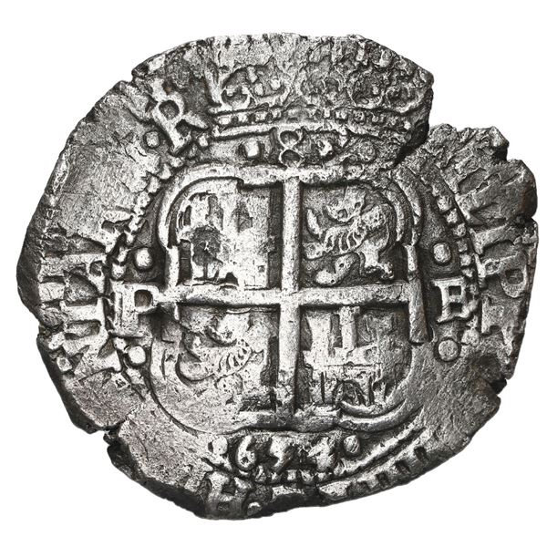 Potosi, Bolivia, cob 8 reales, 1654 E, dot-PH-dot at top, denomination 8 above cross.