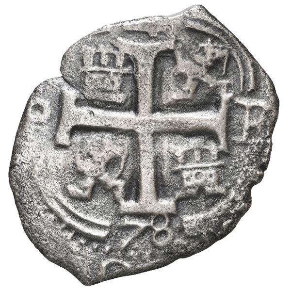 Potosi, Bolivia, cob 4 reales, 1678 E, retrograde denomination 4.