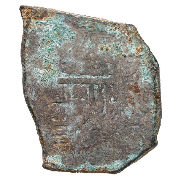 Mexico City, Mexico, cob 8 reales, Charles II, assayer not visible, encrusted (as found), ex-Fisher.