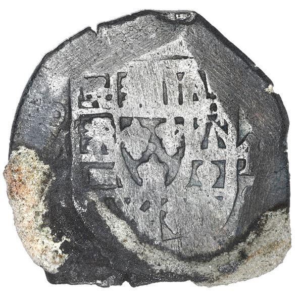 Mexico City, Mexico, cob 4 reales, Philip V, assayer J, encrusted (as found).