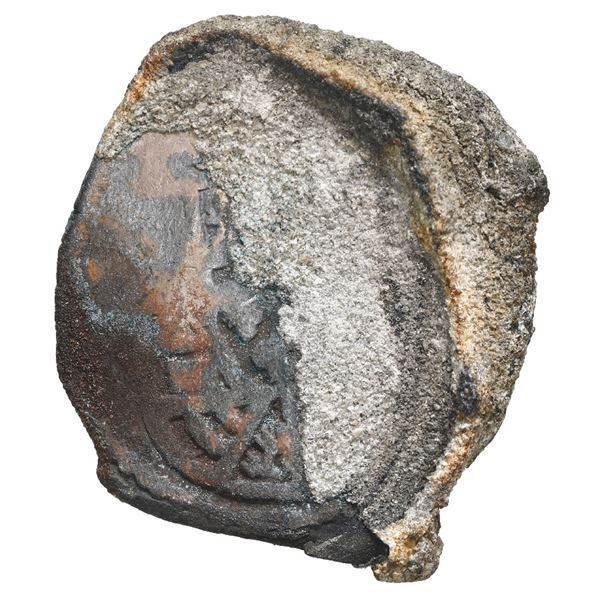 Mexico City, Mexico, cob 4 reales, Philip V, assayer not visible, encrusted (as found), ex-Fisher.