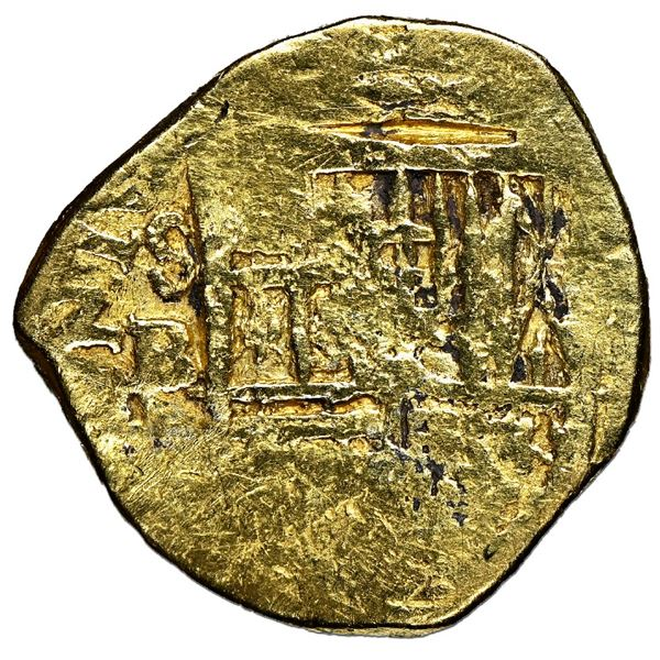 Seville, Spain, gold cob 2 escudos, Philip III, assayer B, NGC Fine details / removed from jewelry /
