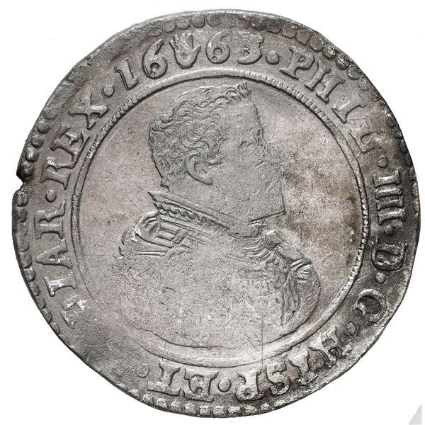 Brabant, Spanish Netherlands (Antwerp Mint), portrait ducatoon, Philip IV, 1663.