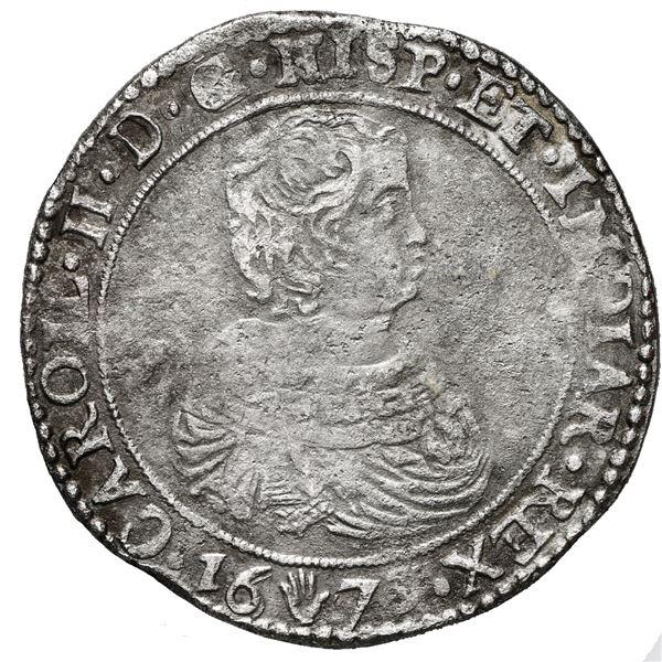 Brabant, Spanish Netherlands (Antwerp Mint), portrait ducatoon, Charles II, 1673.