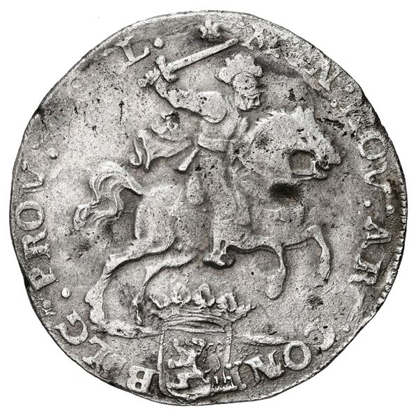 """Holland, United Netherlands, """"rider"""" ducatoon, 1673, date at top (rare)."""