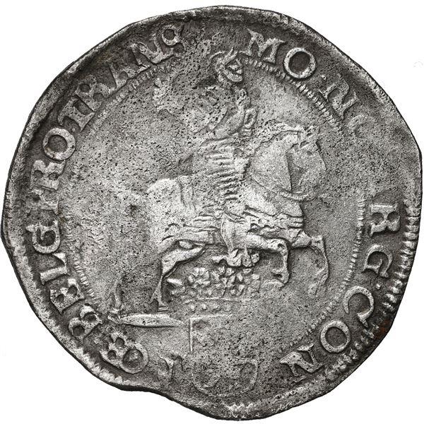 "Overijssel, United Netherlands, ""rider"" ducatoon, 1677, date in cartouche."