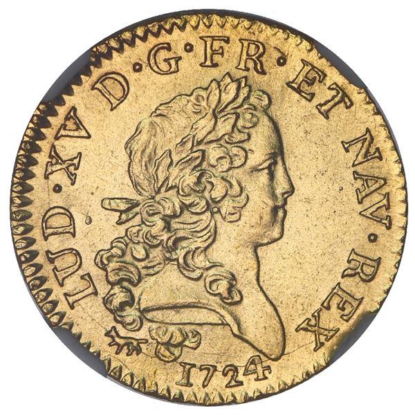 France (Paris mint), gold louis d'or mirliton aux palmes longues, Louis XV, 1724-A, NGC MS 62 / Le C