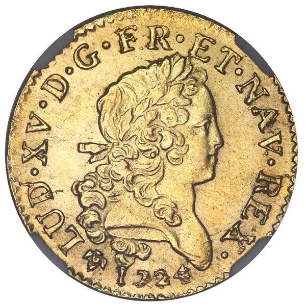 France (Grenoble mint), gold louis d'or mirliton aux palmes longues, Louis XV, 1724-Z, NGC MS 62 / L