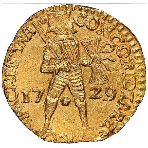 Utrecht, United Netherlands, gold ducat, 1729, NGC MS 66 / Vliegenthart (1735), finest known in NGC