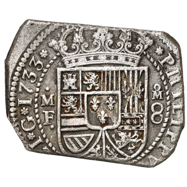 Mexico City, Mexico, klippe 8 reales, 1733 MF, ex-Ponterio.