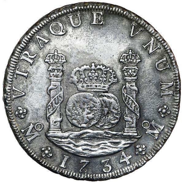 Mexico City, Mexico, pillar 8 reales, Philip V, 1734/3 MF, NGC UNC details / saltwater damage, clean