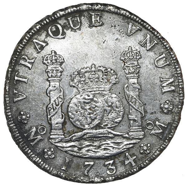 Mexico City, Mexico, pillar 8 reales, Philip V, 1734 MF, NGC UNC details / saltwater damage / Rooswi